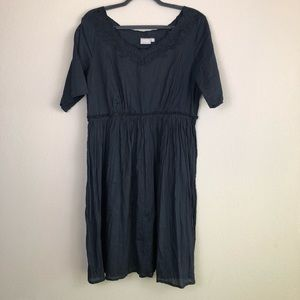 ESHAKTI Navy Embroidered Neck Dress XL 16